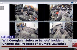 Vaizdo įraše užfiksuota, kaip iš po stalų traukiami lagaminai su suklastotais rinkimų biuleteniais